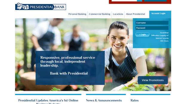 Image of presidential.com homepage